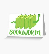 Bookworm in green (with worm) Greeting Card