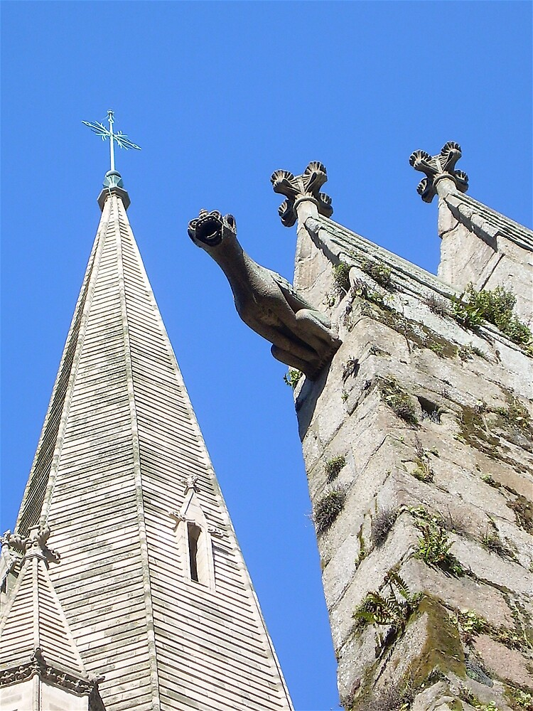 Gargoyle and Steeple at Saint Malo by debwilson