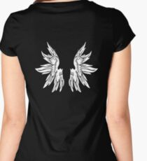 White Fairy Wings on Black T-Shirt Women's Fitted Scoop T-Shirt