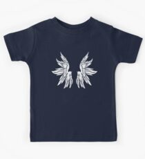 White Fairy Wings on Black T-Shirt Kids Clothes