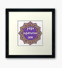 Violet Mandala and Sign 'Yoga Maditation Zen' for yogis Framed Print