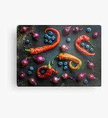 Peppers, blueberries and baby red onions No. 32 Metal Print