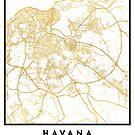 HAVANA CUBA CITY STREET MAP ART by deificusArt