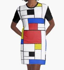 Mondrian Lines Graphic T-Shirt Dress