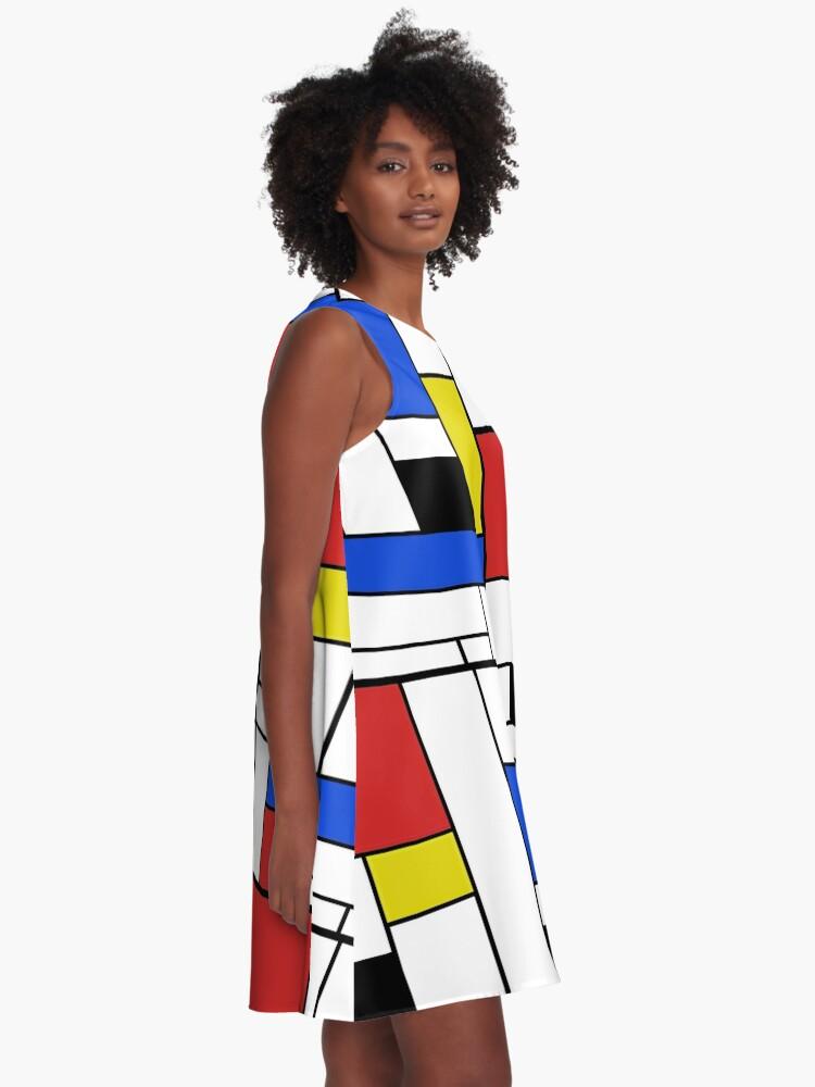 Alternative Ansicht von Mondrian Linien A-Linien Kleid