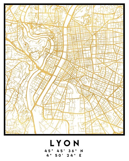 Lyon France City Street Map Art Posters By Deificusart Redbubble