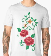 Folk embroidery with flowers  Men's Premium T-Shirt