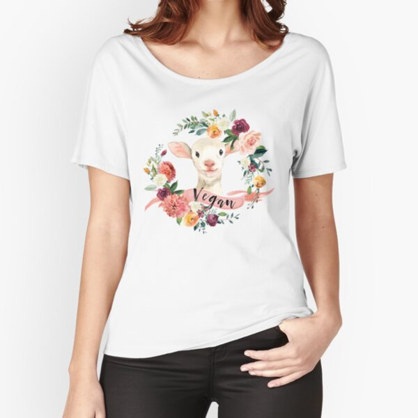Vegan - Floral Lamb Relaxed Fit T-Shirt