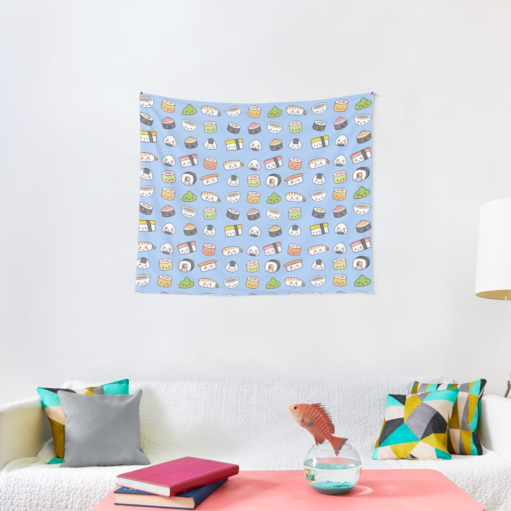 Happy kawaii sushi pattern Tapestry