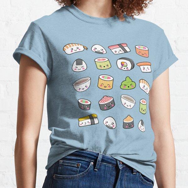 Happy kawaii sushi pattern Classic T-Shirt