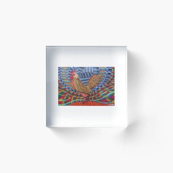 317 - COCKEREL DESIGN - DAVE EDWARDS - COLOURED PENCILS - 2011 Acrylic Block