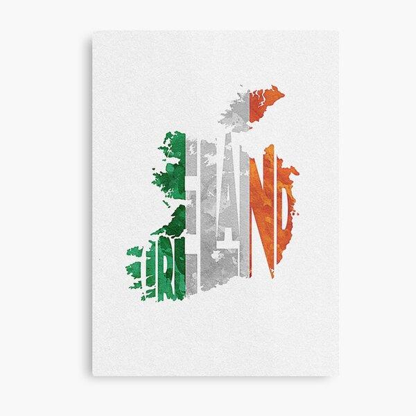 Ireland Typographic Map Flag Metal Print