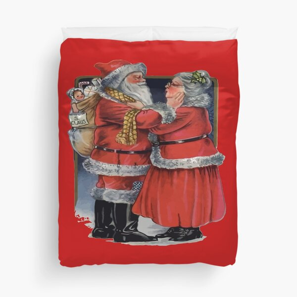 Vintage Vibes Mr and Mrs Claus Christmas Couple Duvet Cover