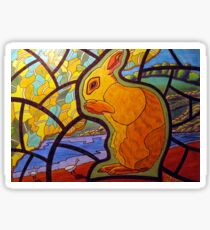 302 - STAINED-GLASS WINDOW BUNNY - DAVE EDWARDS - COLOURED PENCILS & INK - 2010 Sticker