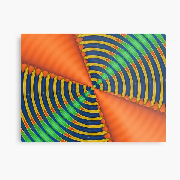 Orange Blue and Green Kaleidoscope Metal Print