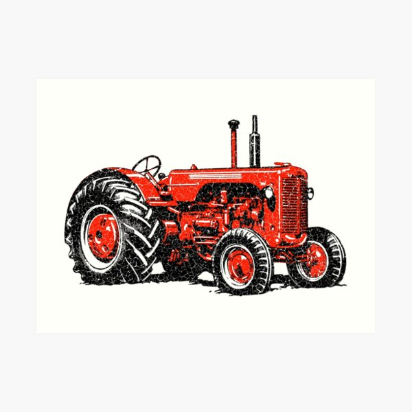 Red Tractor- distressed style Art Print