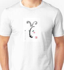 Year of Goat(Sheep) Zodiac Card,Chinese Letters inspired Symbolic Animal Sumi-e Painting,Ink Illustration,B&W,Zen,Birthday T-Shirt