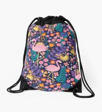 Flamingo Tropical Drawstring Bag