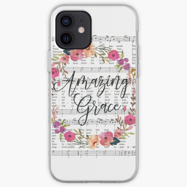 Amazing Grace Hymn with Floral Wreath iPhone Soft Case
