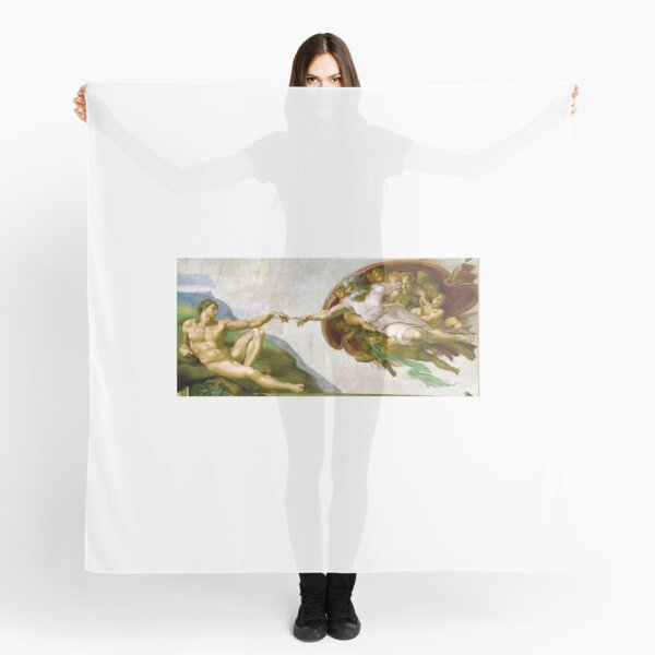 Michelangelo. The Creation of Adam. 1510. Genesis, Ceiling, Sistine Chapel, Rome, Touch of God. Scarf