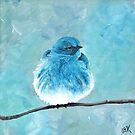 Mountain Bluebird on a Branch, Acrylic Art, Painting, Anne Hockenberry by birdsandberry