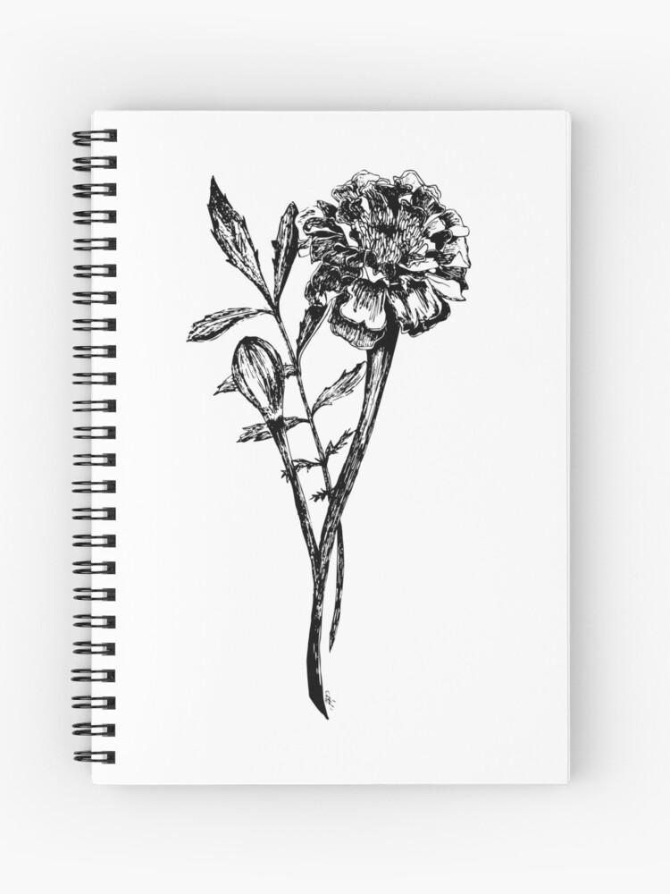 Dessin De Fleur De Souci De Noir Et Blanc Cahier à Spirale