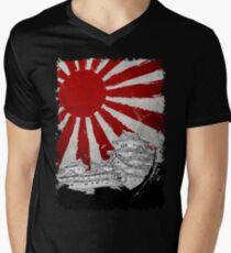 Japanischer Palast und Sonne T-Shirt mit V-Ausschnitt