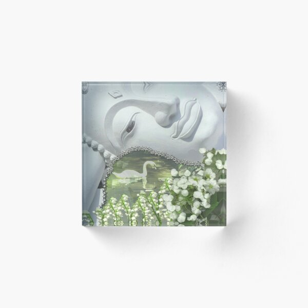 In the Garden - Quan Yin Lilies of the Valley Acrylic Block