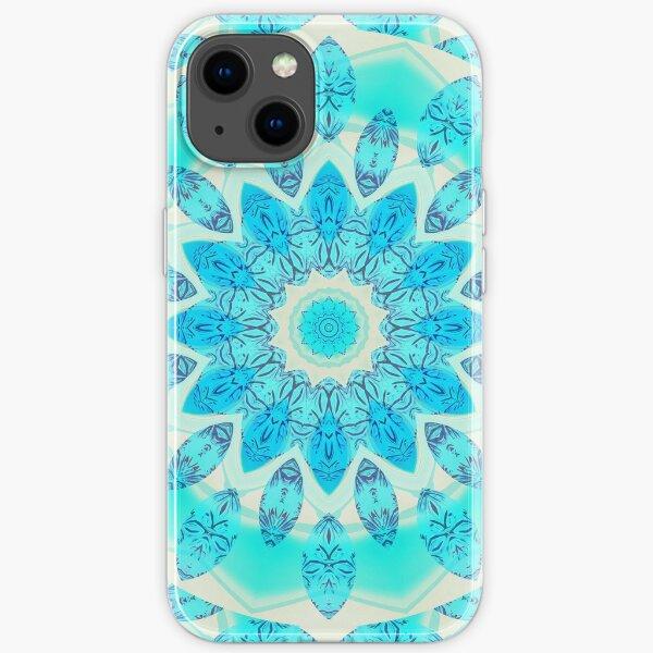 Blue Ice Goddess, Aqua Cyan Star Mandala iPhone Soft Case