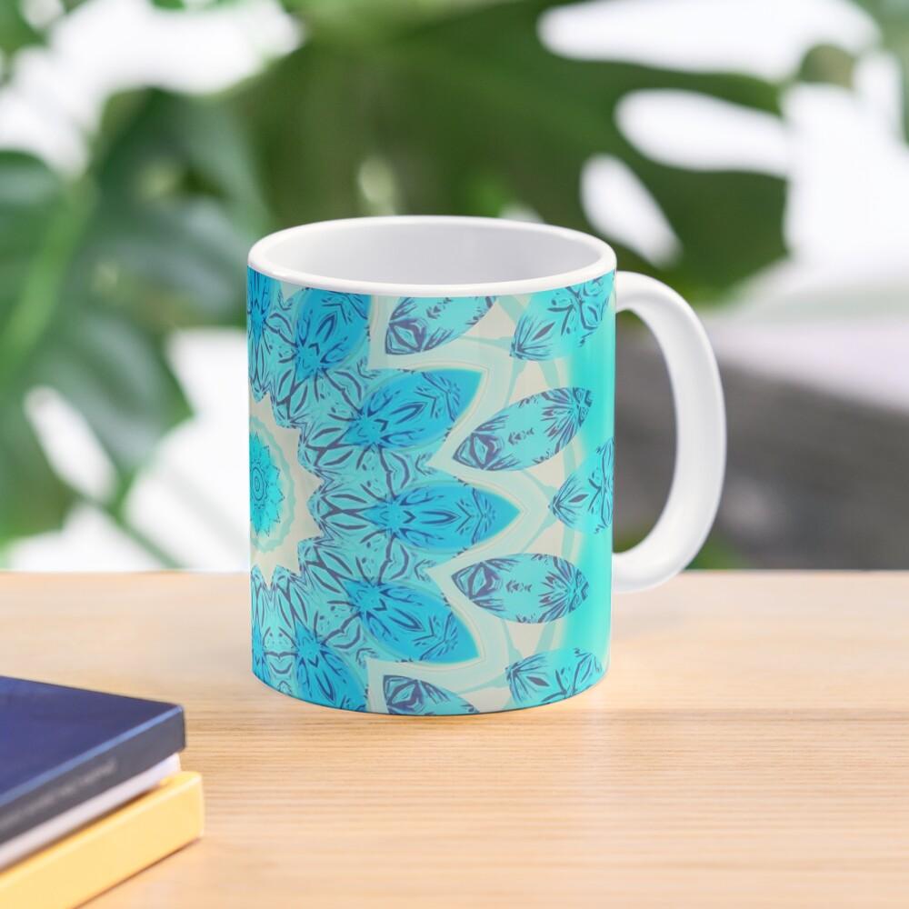 Blue Ice Goddess, Aqua Cyan Star Mandala Mug
