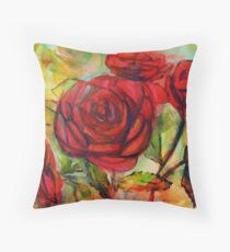 Watercolor painting of roses in the garden  Throw Pillow