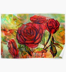 Watercolor painting of roses in the garden  Poster