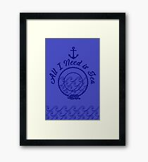 All I Need is Sea - Monochromatic Navy Blue Framed Print
