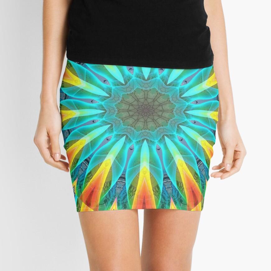 Aqua Gold Joy to the World Wild Flowers  Mini Skirt