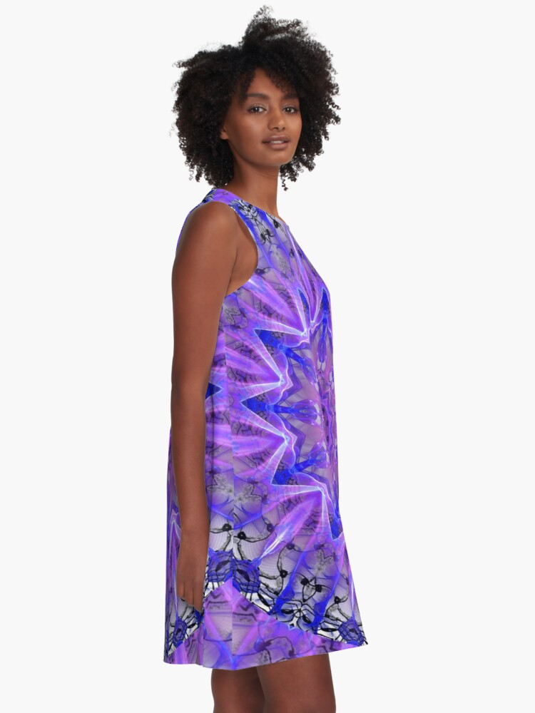 Alternate view of Abstract Plum Ice Crystal Palace Lattice Lace  A-Line Dress