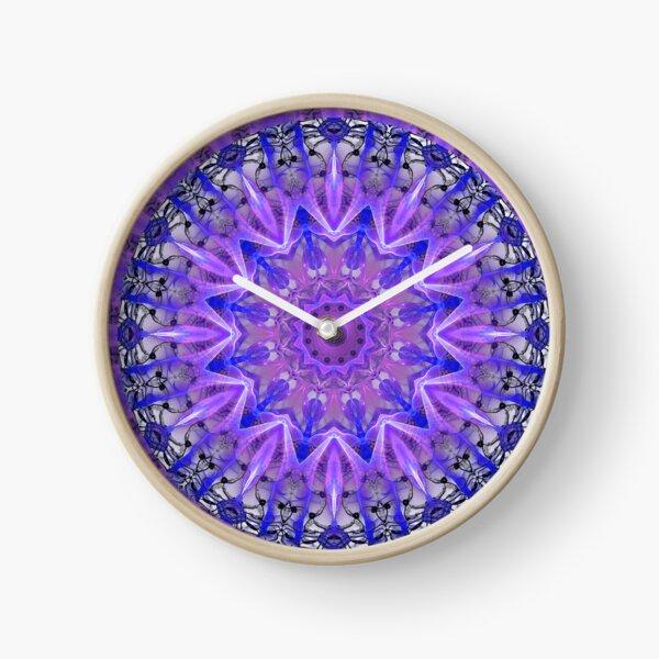 Abstract Plum Ice Crystal Palace Lattice Lace  Clock