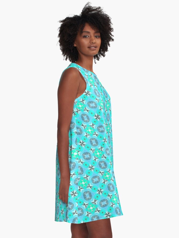 Alternate view of Elegant Blue Teal Abstract Modern Foliage Leaves Pattern A-Line Dress