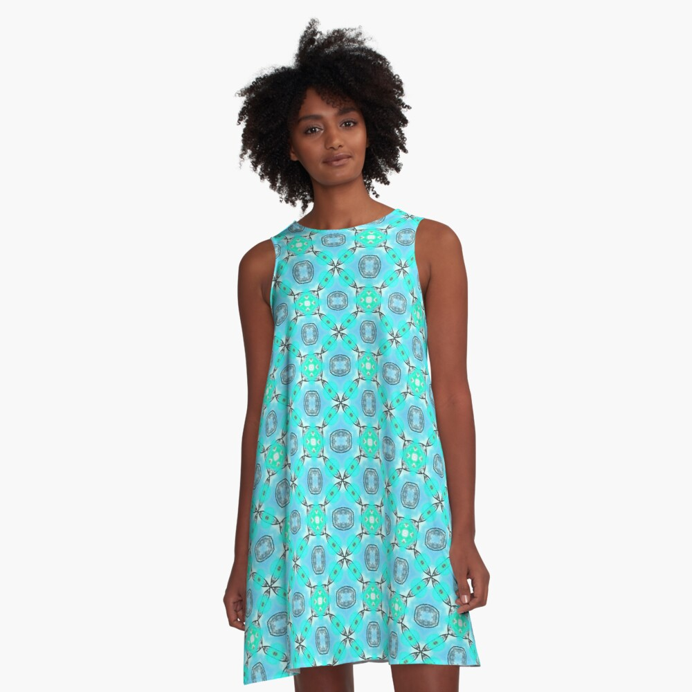 Elegant Blue Teal Abstract Modern Foliage Leaves Pattern A-Line Dress