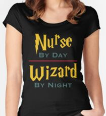 Nurse By Day Wizard By Night Women's Fitted Scoop T-Shirt
