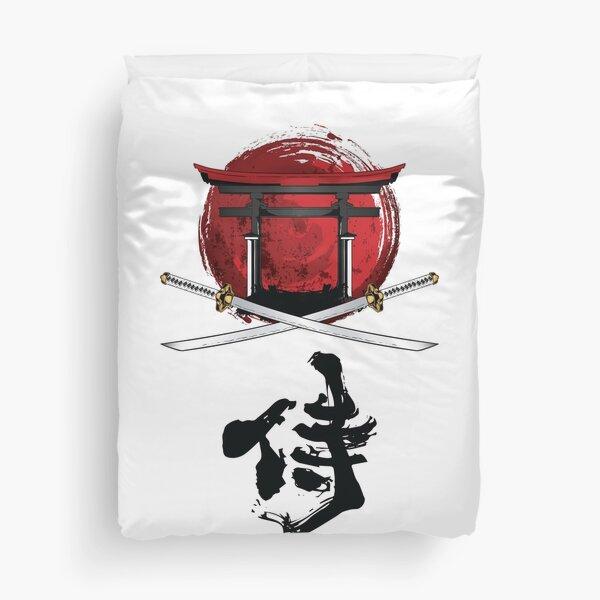 Samurai Katana Tori gate Kanji Duvet Cover