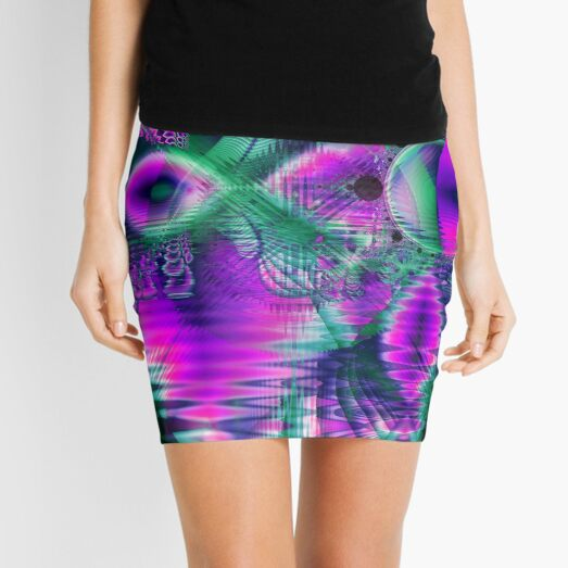 Teal Violet Crystal Palace, Abstract Fractal Cosmic Heart Mini Skirt