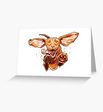Happy and excited jumping Vizsla dog running and playing Greeting Card