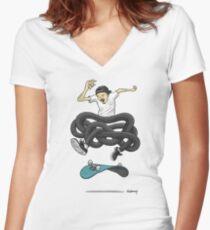 Gnarly Skater Women's Fitted V-Neck T-Shirt