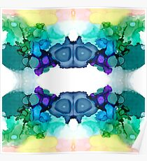 Abstract Mirrored Design Cool Colors Poster