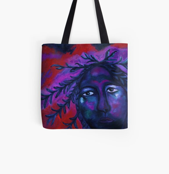 Mother Watching All - Crimson & Violet Compassion  All Over Print Tote Bag