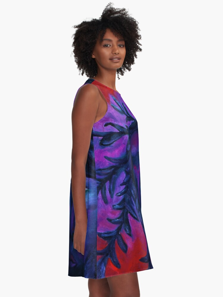 Alternate view of Mother Watching All - Crimson & Violet Compassion  A-Line Dress