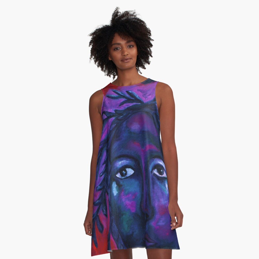 Mother Watching All - Crimson & Violet Compassion  A-Line Dress