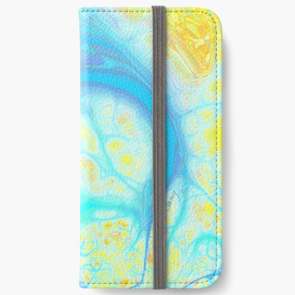 Streams of Joy - Cosmic Aqua & Lemon iPhone Wallet