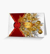 Gold Sleigh Bells on White with Red Bow for Christmas Greeting Card