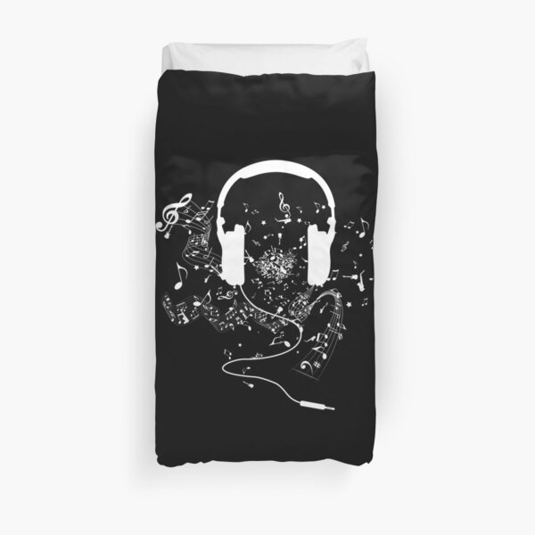 Headphones and music notes white Duvet Cover